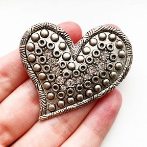 Gray pewter & diamond whimsical heart brooch pin